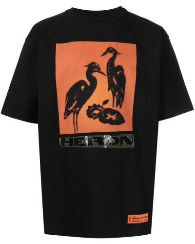Czarna podkoszulka bawełniana z printem Heron Preston