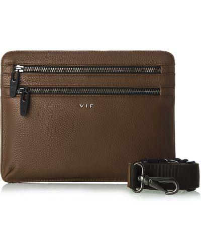 Кожаная поясная сумка - коричневая Vif