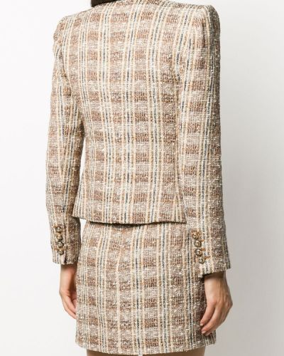 Коричневый прямой удлиненный пиджак твидовый на пуговицах Veronica Beard