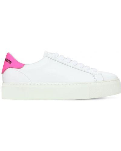 Кожаные белые кроссовки на шнурках Dsquared2
