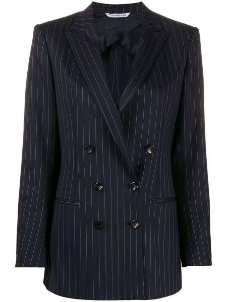 Шерстяной синий удлиненный пиджак двубортный Tonello