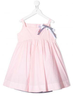Розовое платье на молнии с бантом на бретелях Simonetta