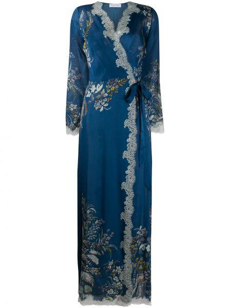 Niebieski szlafrok koronkowy z jedwabiu Carine Gilson