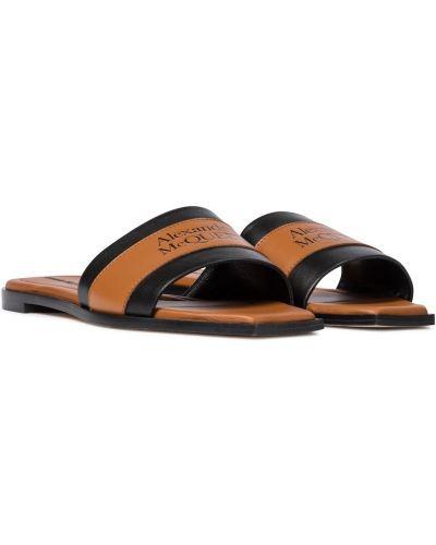Brązowe sandały skorzane Alexander Mcqueen