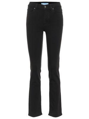 Прямые черные джинсы из вискозы 7 For All Mankind
