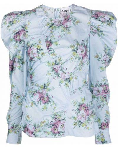 Bluzka asymetryczna - niebieska Ganni