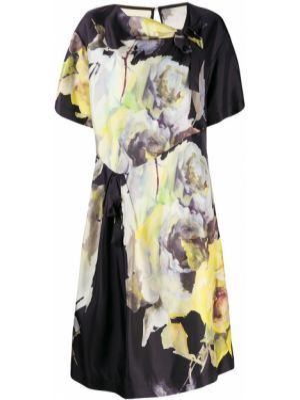 Czarna sukienka mini krótki rękaw z jedwabiu Antonio Marras