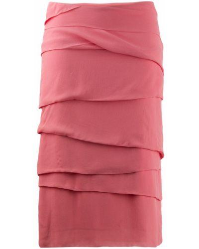 Приталенная розовая юбка миди в рубчик Versus Pre-owned