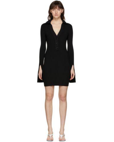 Расклешенное черное платье макси с длинными рукавами Alexander Wang