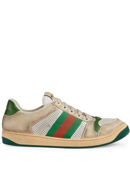 Klasyczny zielony skórzane sneakersy perforowany metal Gucci