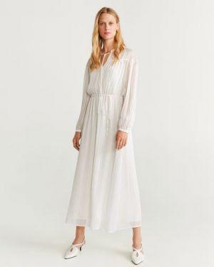 Платье макси в полоску на пуговицах Mango