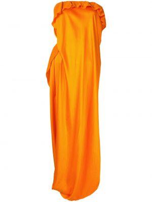 Приталенное драповое асимметричное платье миди с драпировкой Poiret
