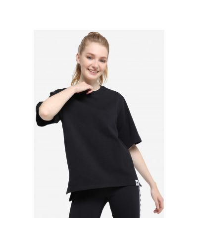 Хлопковая черная футболка с короткими рукавами Kappa