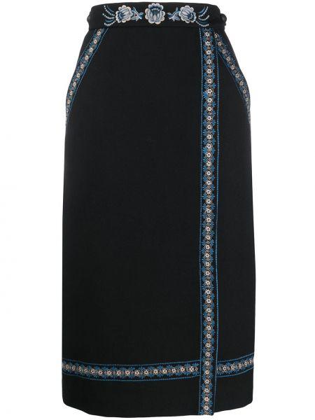 Черная юбка миди с запахом с вышивкой с карманами Vilshenko
