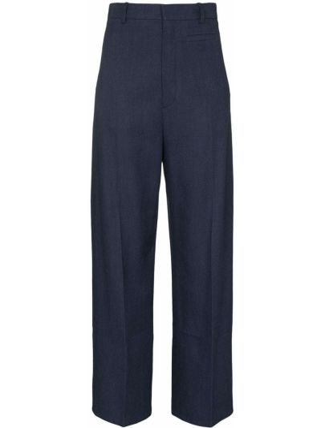 Bawełna spodni niebieski przycięte spodnie z paskiem Jacquemus