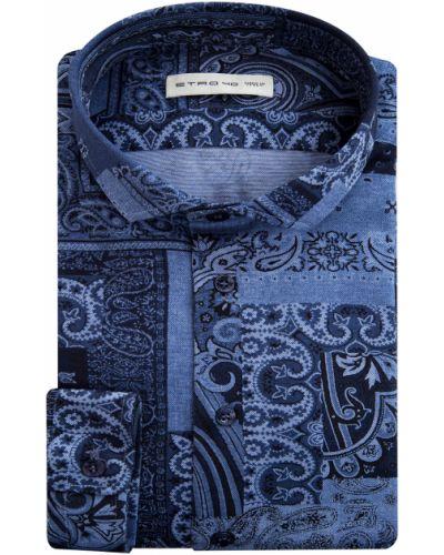 Рубашка с длинным рукавом с воротником-стойкой с узором пейсли Etro