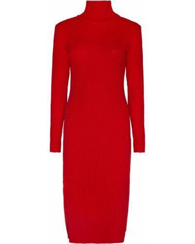 Красное прямое платье миди в рубчик с длинными рукавами Laroom