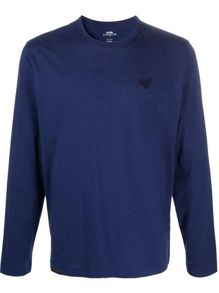Niebieski sweter z haftem bawełniany Coach
