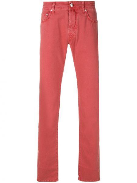 Красные зауженные джинсы-скинни из микрофибры Jacob Cohen