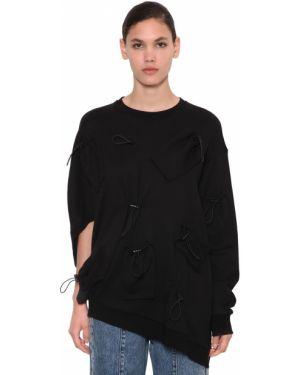 Prążkowany czarny sweter asymetryczny Annakiki