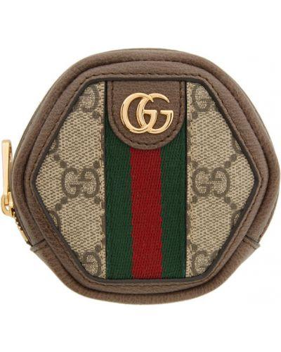 Brązowy skórzany torebka na łańcuszku prążkowany Gucci