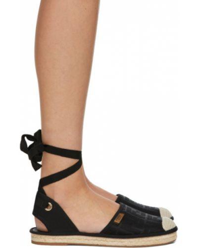 Текстильные черные эспадрильи на каблуке Fendi