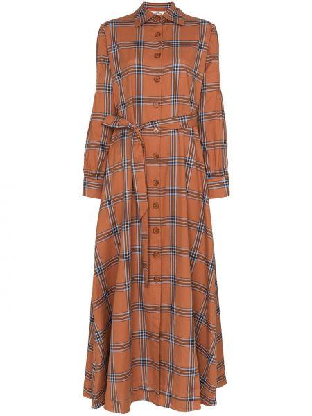 Brązowa klasyczna sukienka długa z długimi rękawami Evi Grintela