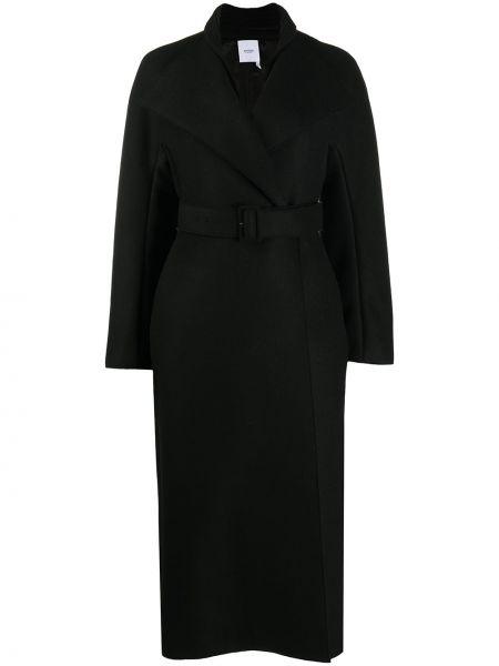 Черное кашемировое длинное пальто с поясом Agnona