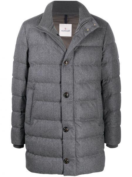 Wełniany długi płaszcz z kieszeniami z mankietami z długimi rękawami Moncler