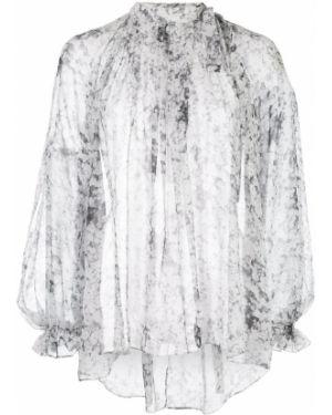 Блузка с длинным рукавом с цветочным принтом в полоску Adam Lippes