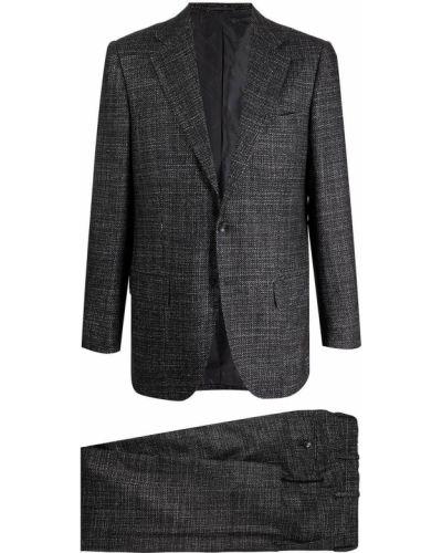 Czarny garnitur z jedwabiu Kiton
