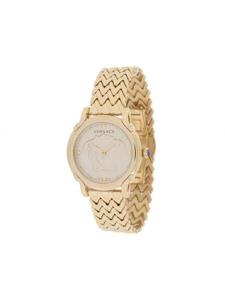 Часы водонепроницаемые золотые круглые с бабочкой Versace