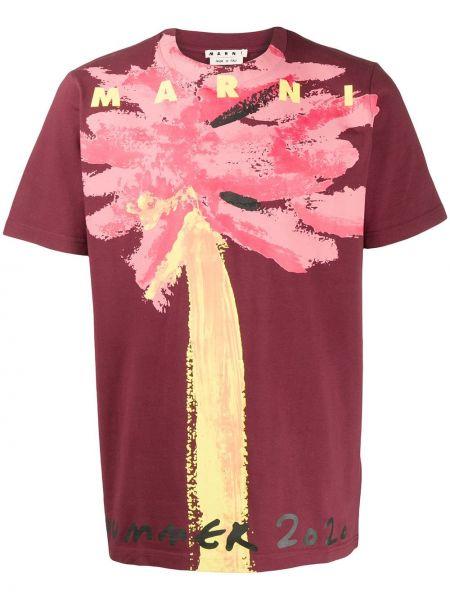 Koszula krótkie z krótkim rękawem prosto z kwiatowym nadrukiem Marni