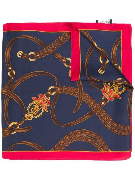 Шелковый синий шарф квадратный в морском стиле Lauren Ralph Lauren