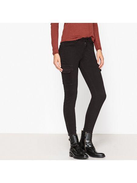 Черные брюки дудочки с накладными карманами узкого кроя с декоративной отделкой Ikks