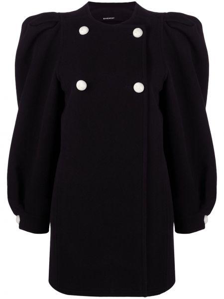 Шерстяное черное длинное пальто двубортное Givenchy