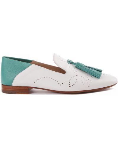 Кожаные белые туфли закрытые Fratelli Rossetti