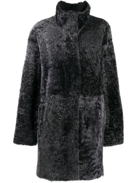 Однобортное серое пальто с воротником из овчины Drome