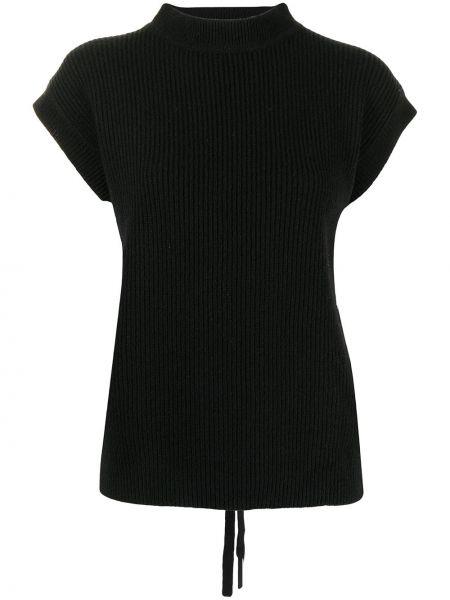 Czarna koszulka prążkowana Ys
