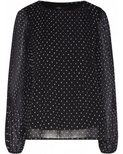 Блузка с длинным рукавом в горошек черная Maje