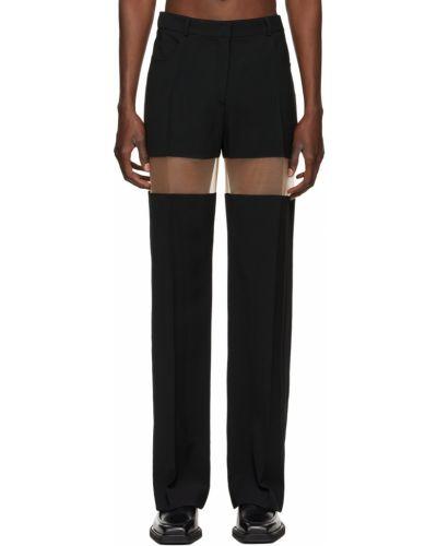 Czarne spodnie z paskiem wełniane Mugler