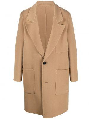 Brązowy płaszcz wełniany z długimi rękawami Ami