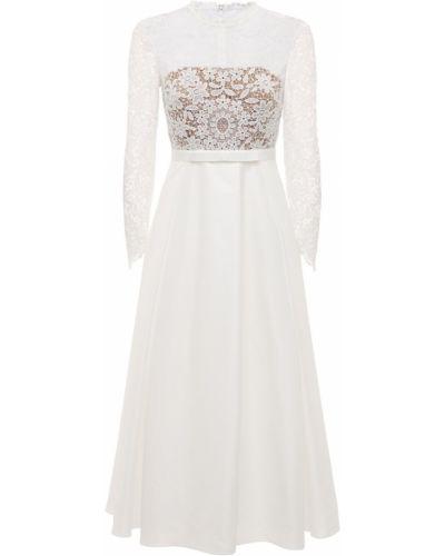 Гипюровое кружевное белое платье миди Self-portrait