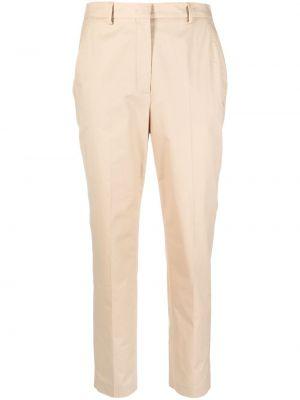 Хлопковые бежевые укороченные брюки стрейч Incotex