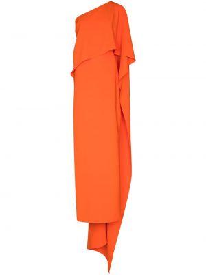 Оранжевое платье макси на одно плечо Carolina Herrera
