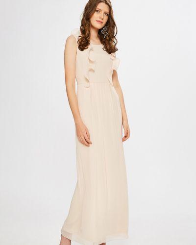Платье макси прямое с оборками Vila