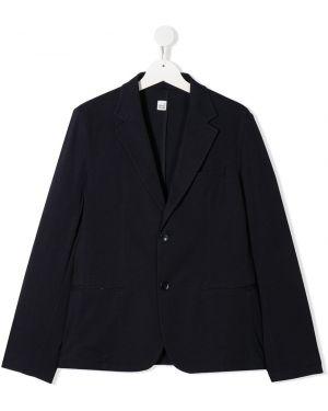 Однобортный синий удлиненный пиджак с карманами Paolo Pecora Kids