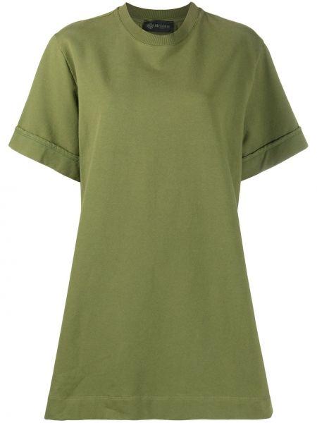 Зеленое платье мини с вышивкой оверсайз с короткими рукавами Mr & Mrs Italy