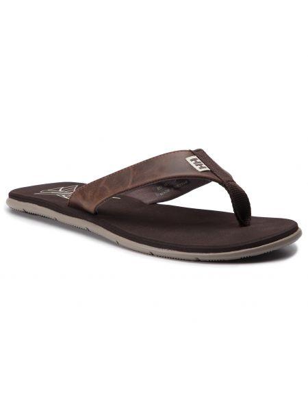Brązowy skórzany skórzany sandały Helly Hansen