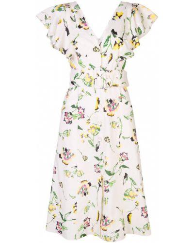 Платье миди с цветочным принтом с V-образным вырезом Tanya Taylor